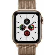 Apple Watch Series 5 (GPS + Cellular) 40mm Edelstahl gold mit Milanaise-Armband gold (MWX72FD/A)